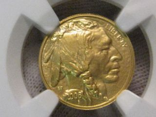 Choice Gem 2008 - W Us Gold 1/10 Oz.  Perfect Buffalo G$5.  Ngc Ms70.  9999 Fine.  7 photo