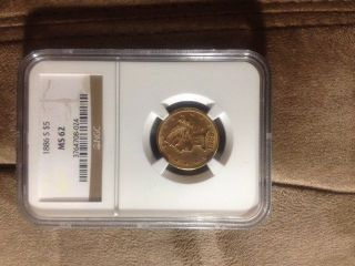 1886 - S U.  S.  Gold Liberty Head $5 Dollar Coin,  Ngc Ms62 - Half Eagle photo
