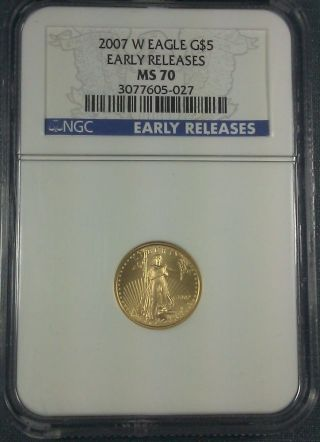 2007 - W $5 1/10 Oz Gold Eagle Ncg Ms70 Early Release photo