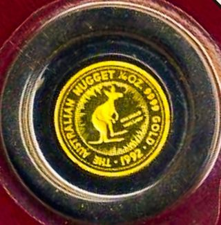 1992 Australia Kangaroo 1/10th Oz Gold Proof 9999 Coin Nugget 1359 Mintage photo
