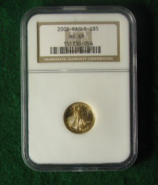 2002 Gold American Eagle 1/10 Troy Ounce $5 Ngc Ms69 - photo