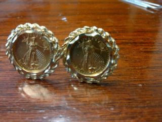 Solid Gold Lady Liberty/american Eagle Cufflinks photo