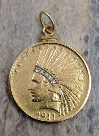 1911 $10 Gold Indian Head In A Gold Bezel With.  5ct Diamonds photo