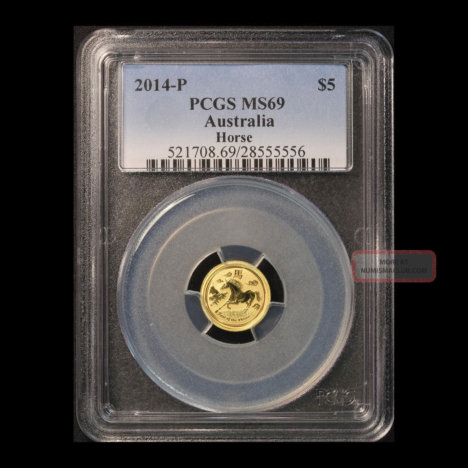 2014 - Perth $5 Gold Year Of The Horse Pcgs Ms 69 Gold photo