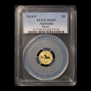 2014 - Perth $5 Gold Year Of The Horse Pcgs Ms 69 photo