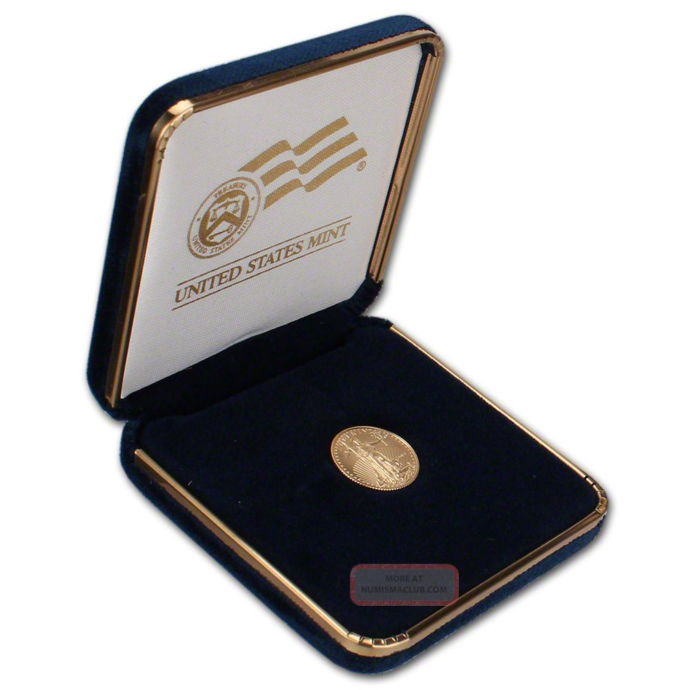 2014 American Gold Eagle (1/10 Oz) $5 Coin In U.  S.  Gift Box Gold photo
