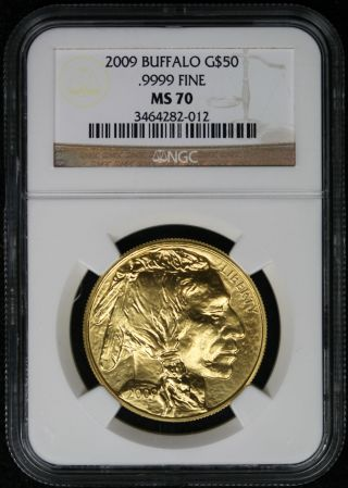 2009 American Buffalo Gold $50 One - Ounce Ms 70 Ngc.  9999 Fine photo