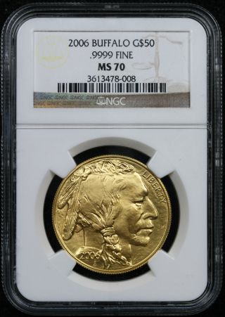 2006 American Buffalo Gold $50 One - Ounce Ms 70 Ngc.  9999 Fine photo