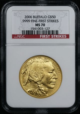 2006 American Buffalo Gold $50 One - Ounce Ms 70 Ngc.  9999 Fine First Strikes photo