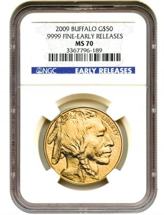 2009 American Buffalo $50 Ngc Ms70 (early Releases) Buffalo.  999 Gold photo
