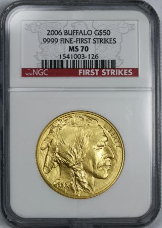 2006 First Strike American Buffalo Gold $50 One - Ounce Ms 70 Ngc.  9999 Fine photo