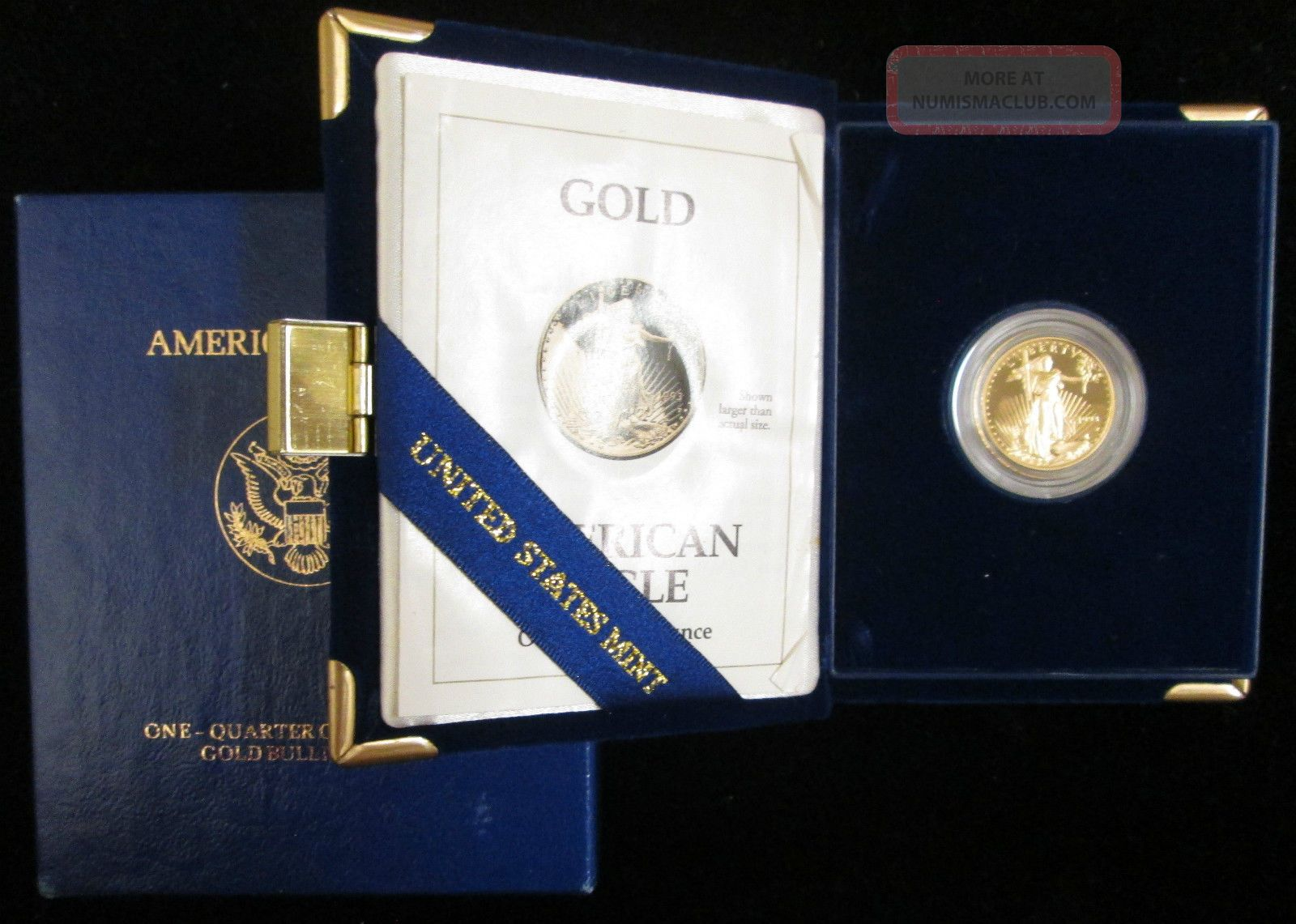 1993 - P Proof 1/4 Oz $10 Gold American Eagle Box And Gold photo