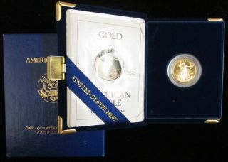 1993 - P Proof 1/4 Oz $10 Gold American Eagle Box And photo