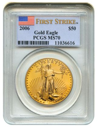 2006 Gold Eagle $50 Pcgs Ms70 (first Strike) American Age photo