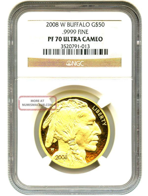 2008 - W American Buffalo $50 Ngc Proof 70 Ucam - 1 Ounce 0.  999 Gold Gold photo