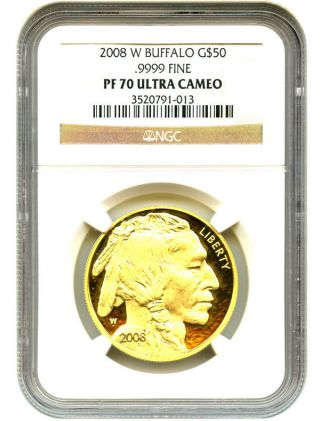 2008 - W American Buffalo $50 Ngc Proof 70 Ucam - 1 Ounce 0.  999 Gold photo