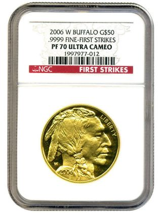 2006 - W American Buffalo $50 Ngc Pr 70 Dcam - 1 Ounce.  999 Gold (first Strike) photo