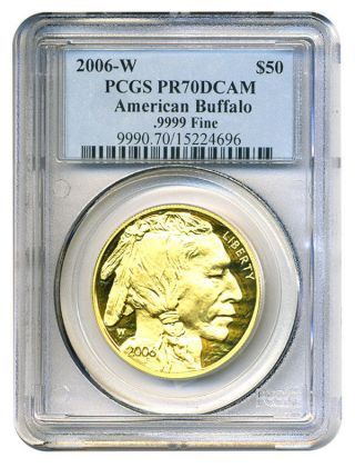 2006 - W American Buffalo $50 Pcgs Proof 70 Dcam - 1 Ounce.  999 Gold photo