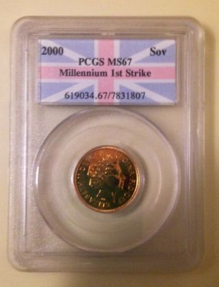 2000 Great Britain Gold Sovereign Pcgs Ms67 Millennium 1st Strike Coin photo