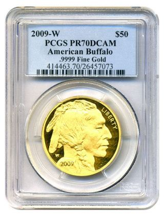 2009 - W American Buffalo $50 Pcgs Proof 70 Dcam - 1 Ounce 0.  999 Gold photo