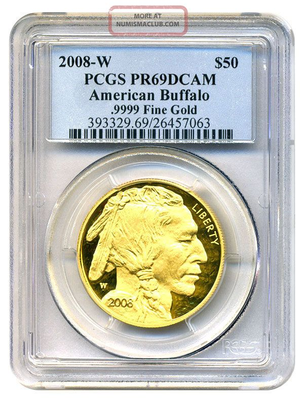 2008 - W American Buffalo $50 Pcgs Proof 69 Dcam - 1 Ounce 0.  999 Gold Gold photo