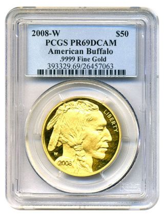 2008 - W American Buffalo $50 Pcgs Proof 69 Dcam - 1 Ounce 0.  999 Gold photo
