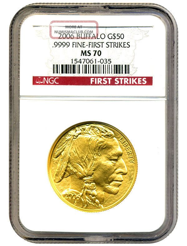 2006 American Buffalo $50 Ngc Ms70 First Strike.  999 Gold Gold photo