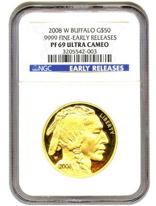 2008 - W American Buffalo $50 Ngc Pr 69 Ucam - 1 Ounce 0.  999 Gold (early Releases) photo