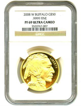 2008 - W American Buffalo $50 Ngc Proof 69 Ucam - 1 Ounce 0.  999 Gold photo
