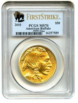 2010 American Buffalo $50 Pcgs Ms70 First Strike.  999 Gold photo