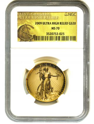 2009 Ultra High Relief $20 Ngc Ms70 Uhr Double Eagle Gold photo