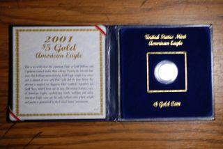 2001 $5 Gem Bu American Gold Eagle - 1/10th Oz photo