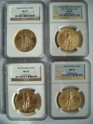 2008 W 2011 W 2012 W 2013 W Gold American Eagle (s) 4 Rarest Burnished All Ms70s photo