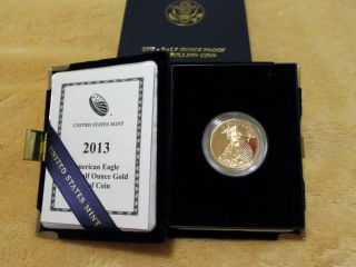 2013 W Proof $25 American Gold Eagle Coin 1/2 Troy Ounce With & photo