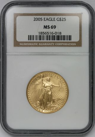2005 Gold Eagle $25 Half - Ounce Ms 69 Ngc 1/2 Oz Fine Gold photo