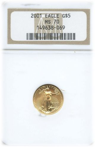 2001 $5 American Gold Eagle Ms 70 | Ngc Graded photo