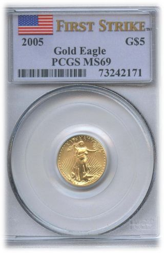 2005 $5 American Gold Eagle First Strike Ms 69 | Pcgs Graded photo