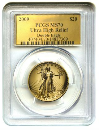 2009 Ultra High Relief $20 Pcgs Ms70 (gold Foil Label) Uhr Double Eagle Gold photo