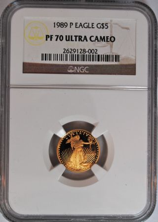 1989 P $5 American Gold Eagle,  Rare Ngc Pf 70,  Low Population,  Proof photo