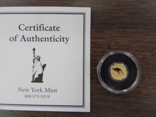 2010 - P Australia.  5 Gram.  9999 Fine $2 Gold Kangaroo Mini Coin photo