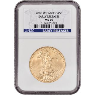 2008 - W American Gold Eagle (1 Oz) $50 - Ngc Ms70 - Burnished - Early Releases photo