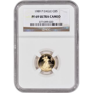 1989 - P American Gold Eagle Proof (1/10 Oz) $5 - Ngc Pf69ucam photo