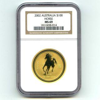 2002 Ngc Ms69 Australia 1 Ounce Gold $100 Horse photo