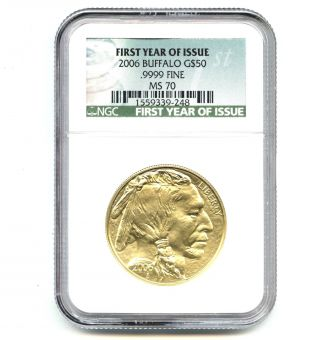 2006 Ngc Ms70 $50 Gold Buffalo.  9999 Fine First Year Of Issue photo
