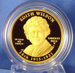 2013 W Edith Wilson First Spouse Series One - Half Ounce $10 Pure Gold Proof Coin photo