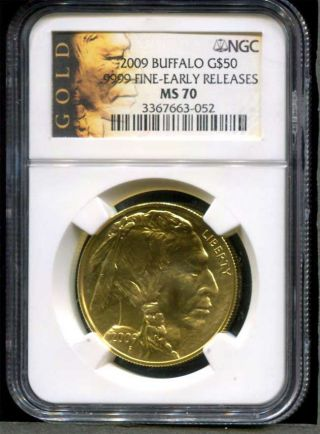 2009 $50 American Gold Buffalo Early Release Ngc Ms - 70 1 Oz. .  9999 Fine Gold photo