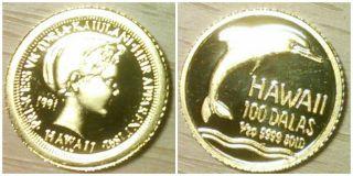 1991 Rhm Commemorative Gold Princess Victoria Kaiulani 100 Dalas Coin photo