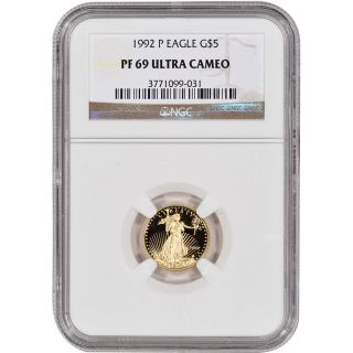 1992 - P American Gold Eagle Proof (1/10 Oz) $5 - Ngc Pf69ucam photo