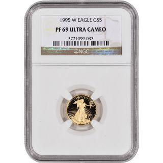 1995 - W American Gold Eagle Proof (1/10 Oz) $5 - Ngc Pf69ucam photo