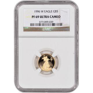 1996 - W American Gold Eagle Proof (1/10 Oz) $5 - Ngc Pf69ucam photo